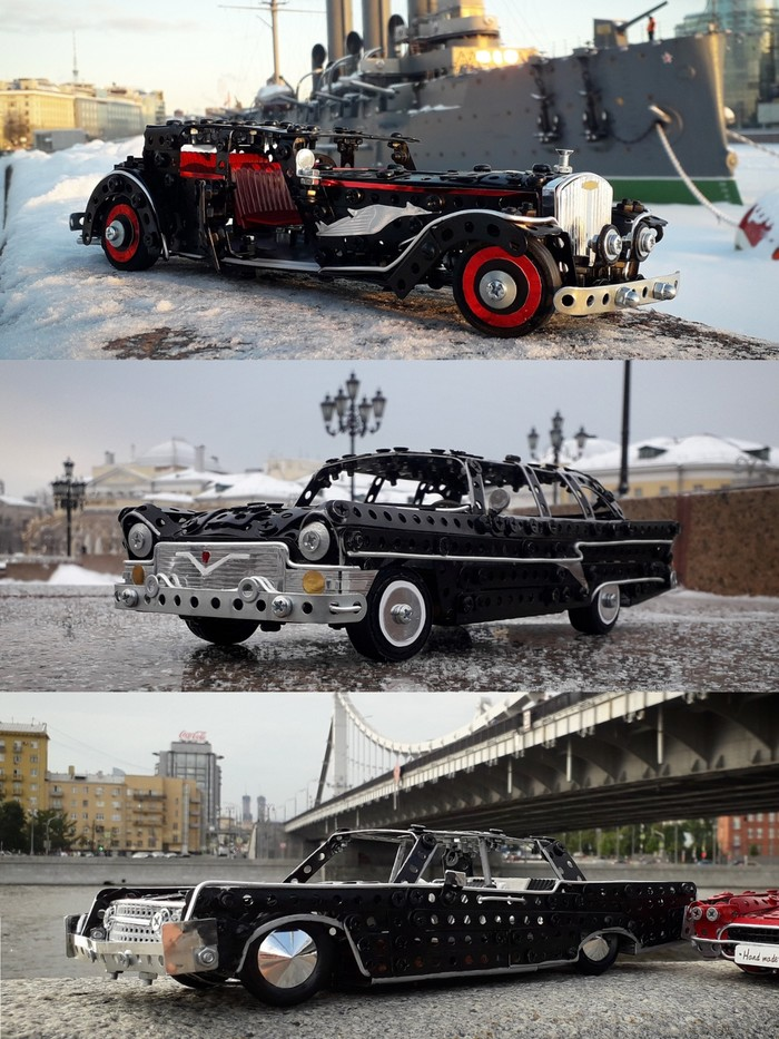Bucciali Tav, Газ-13, Lincoln Continental из металлического конструктора, проволоки, резины, кожи и картона