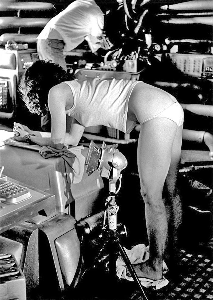 """Сигурни Уивер на съемках фильма """"Чужой"""", 1978 год"""