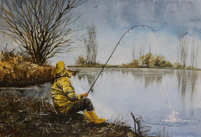 Весеняя рыбалка. Акварель 42х60