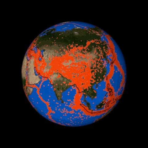 Карта всех землетрясений на Земле за последние 20 лет с магнитудой больше пяти баллов Земля, Визуализация, Землетрясение, Карты, Гифка