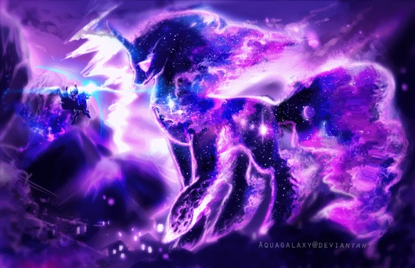 Ответ на пост «Guardian of dreams» My Little Pony, Princess Luna, Tantabus, MLP season 5, Коллаб, Aquagalaxy, Equum Amici, Гифка, Ответ на пост