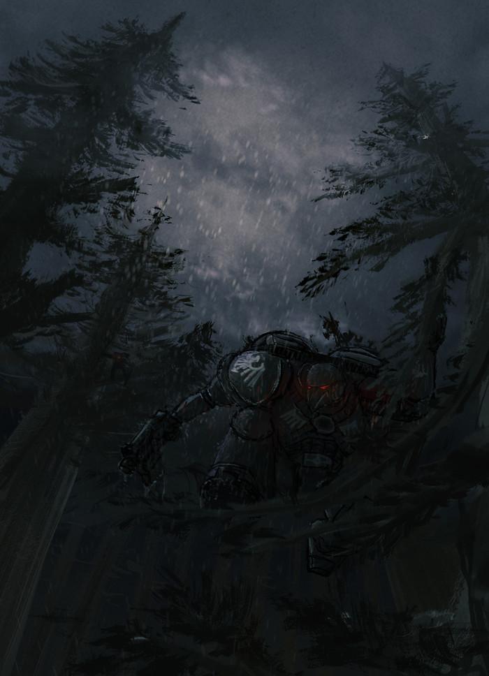 Черный ворон темной ночью
