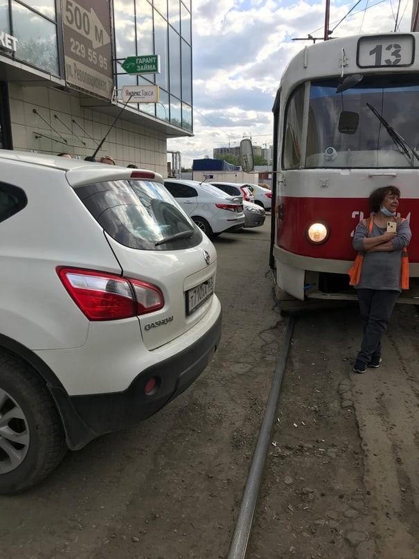 Очередная парковка от богини Самара, Трамвай, Авто, Длиннопост, Неправильная парковка, Негатив