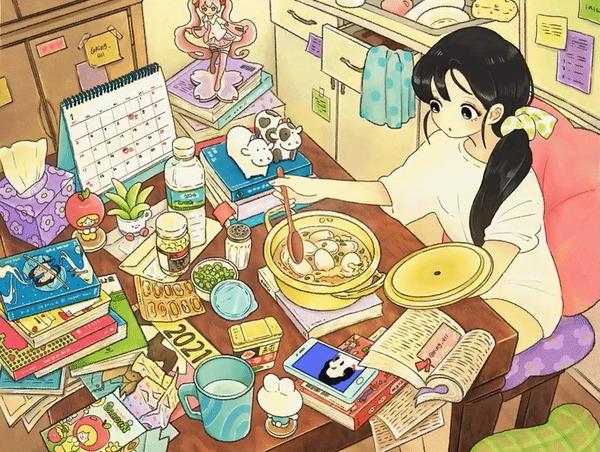 Милые сценки из жизни парочки отаку Аниме, Anime Art, Anime original, Арт, Повседневность, Гифка, Длиннопост