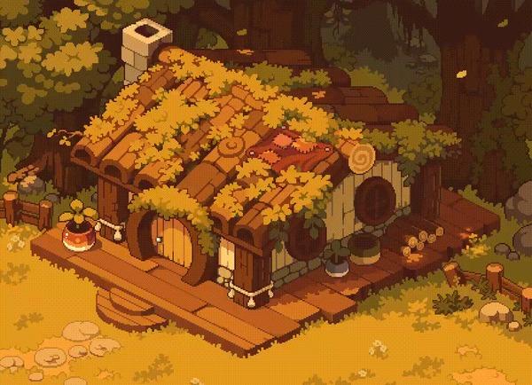 Домик в лесу Арт, Рисунок, Дом, Лес, Осень, Гифка