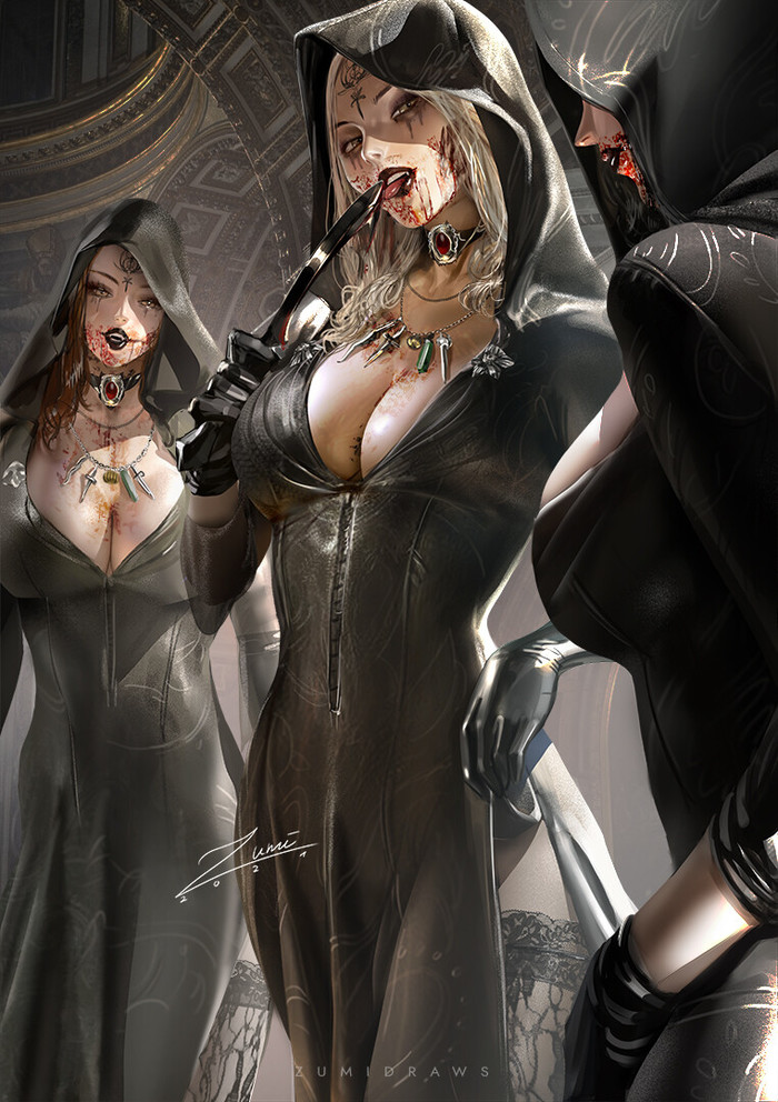 Дочери Димитреску Рисунок, Resident Evil 8: Village, Daniela - Resident Evil, Bela - Resident Evil, Cassandra - Resident Evil, Девушки, Zumidraws, Арт