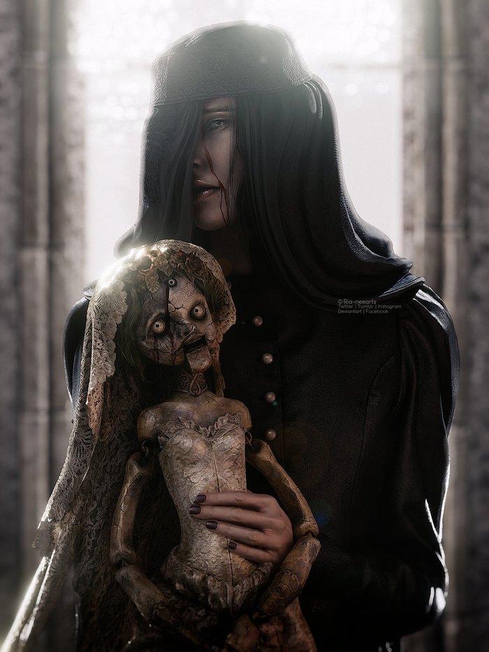 Кукольщица Рисунок, 3D графика, Рендер, Кукольник, Кукла, Resident Evil 8: Village, Арт, Донна Беневиенто