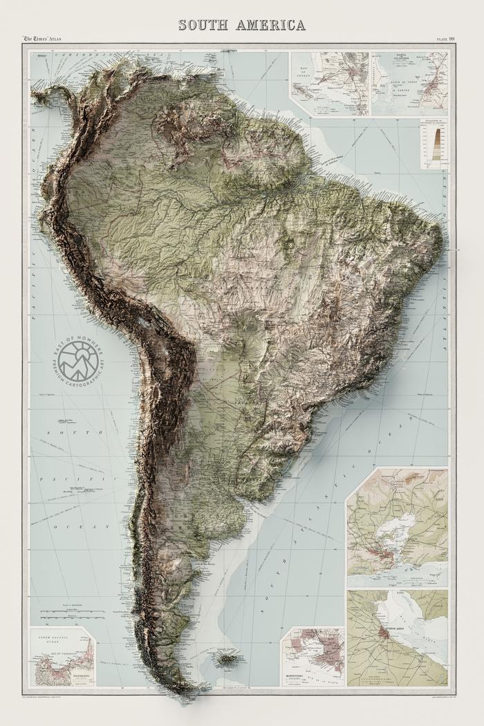 Крутые рельефные карты Южной Америки, Австралии, Африки и США