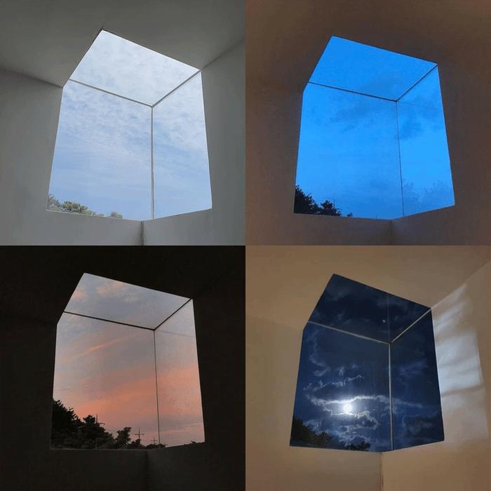 Кубическое окно в разное время суток