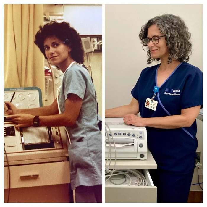 """""""Только что вышла на пенсию после 42 лет работы акушерской медсестрой в одной больнице. Это я в начале (1979) и в конце своей карьеры!"""""""