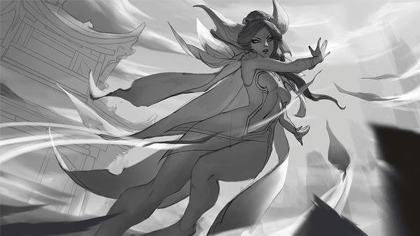 Brave Phoenix Xayah byIna Wong Xayah, League of Legends, Game Art, Игры, Процесс рисования, Ina Wong, Гифка, Длиннопост