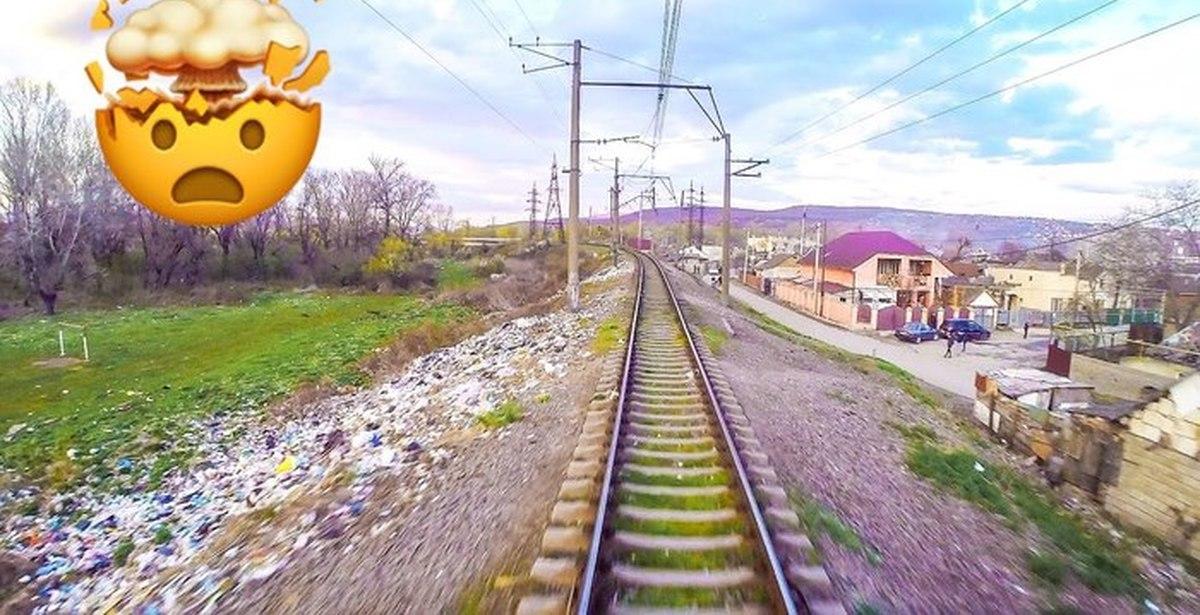Засранная железная дорога через цыганский район: проезд из кабины машиниста поезда